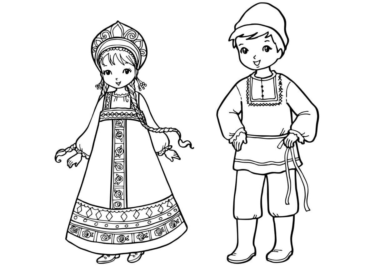 Coloring page russian children Coloring book for toddlers