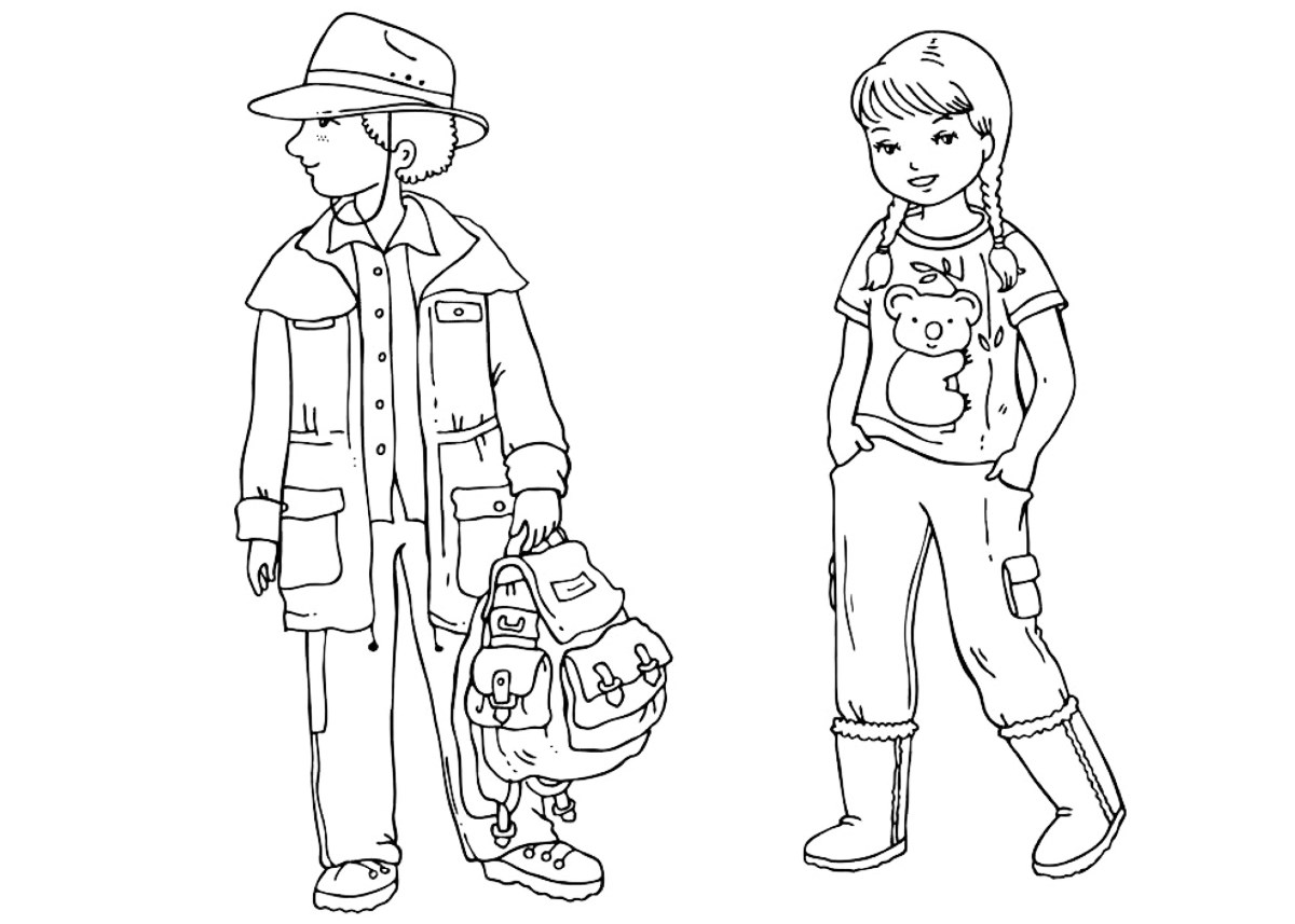 Coloring page  Australian children