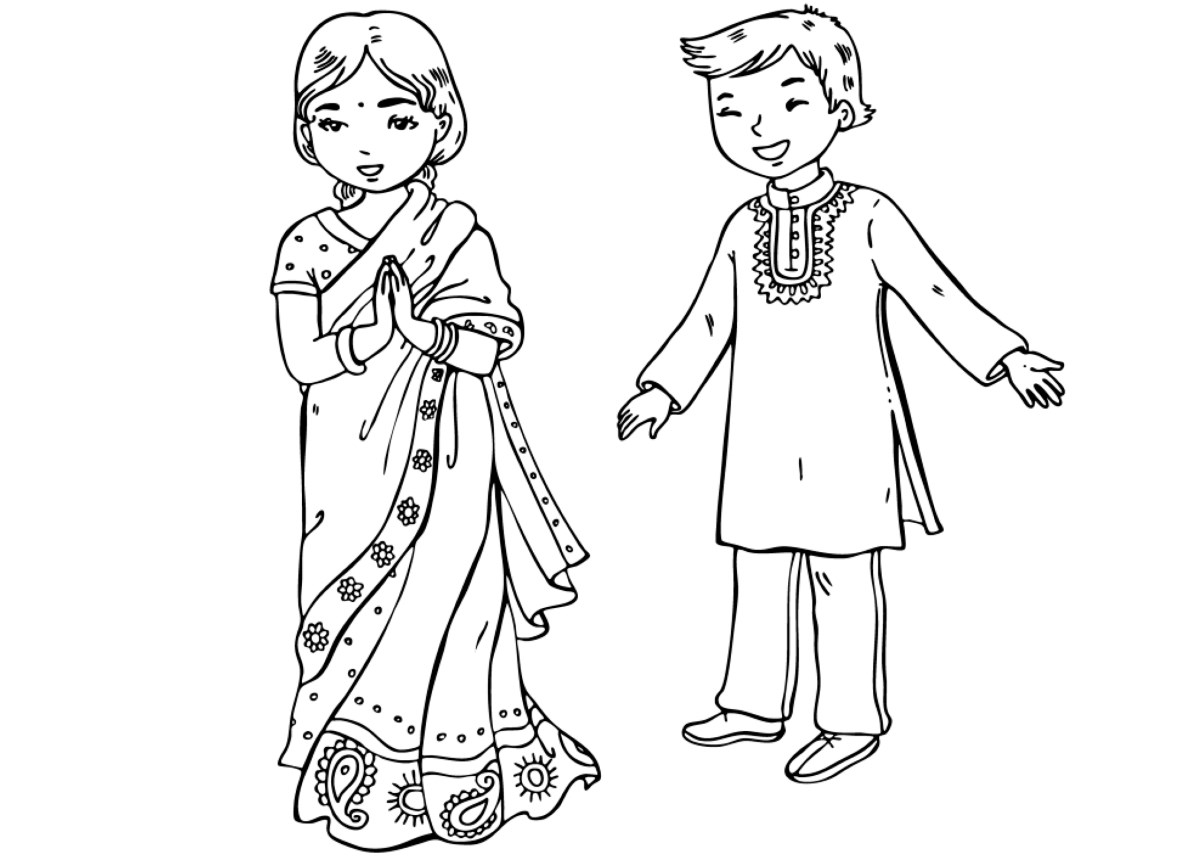 coloring page indian children