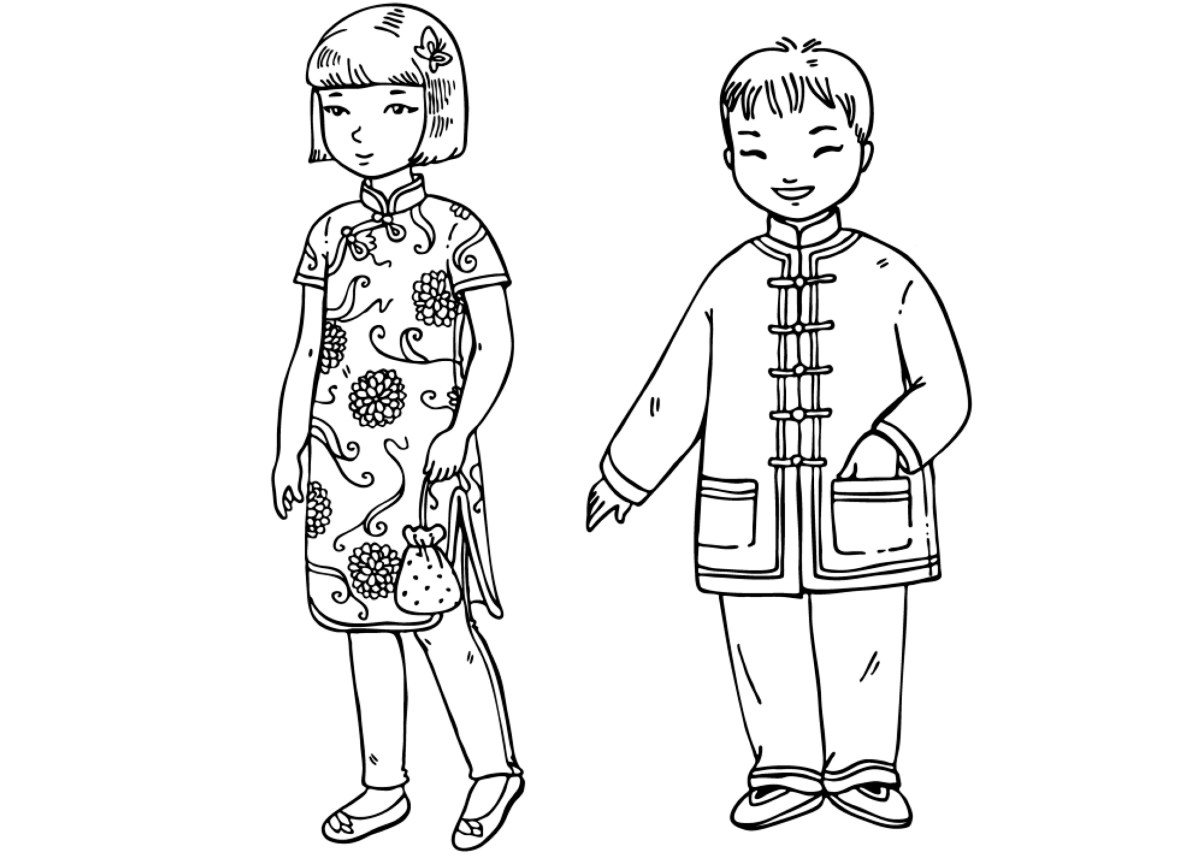 Coloring page - Chinese children