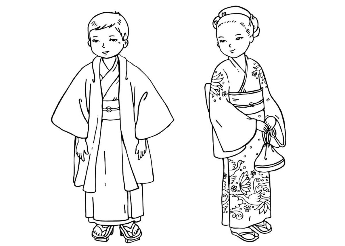 Coloring Page Japanese Children