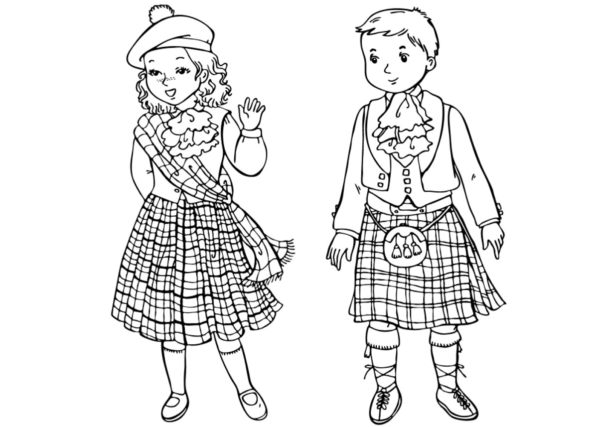 coloring page scottish children