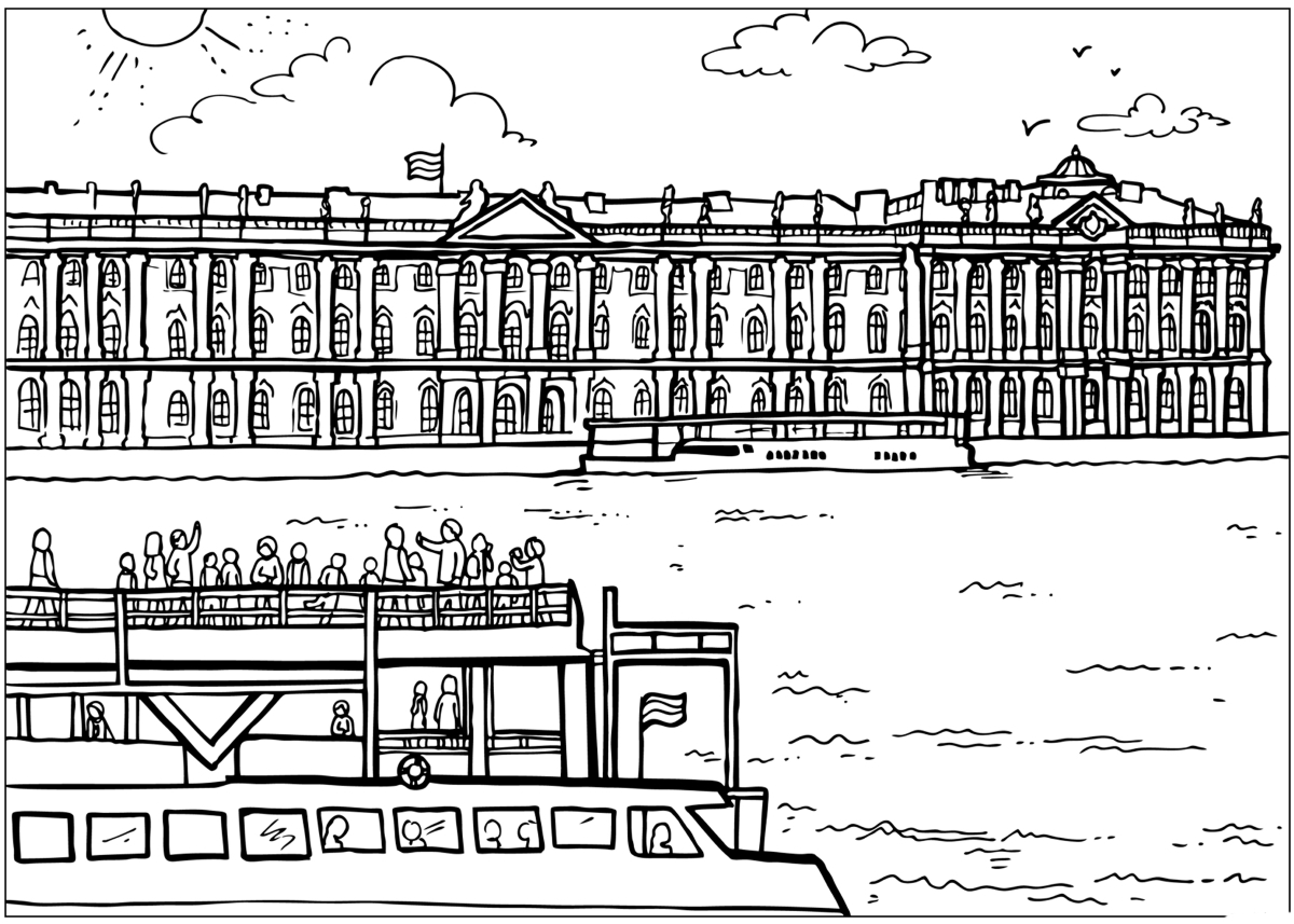 Coloring page - Winter Palace in St. Petersburg