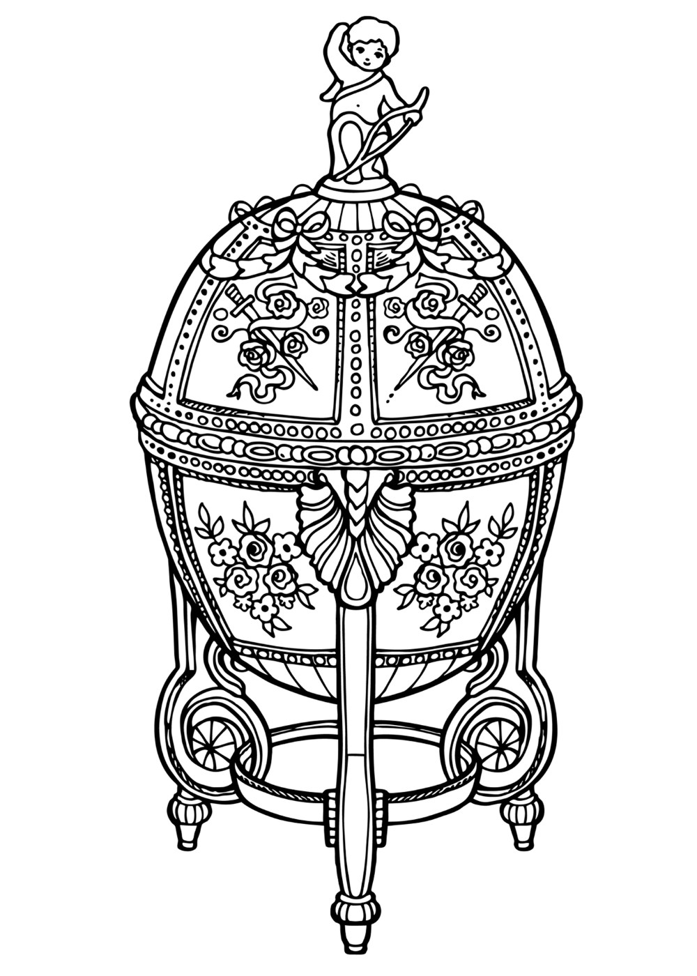Russian Easter Eggs Coloring Pages.  Coloring page Faberge Egg