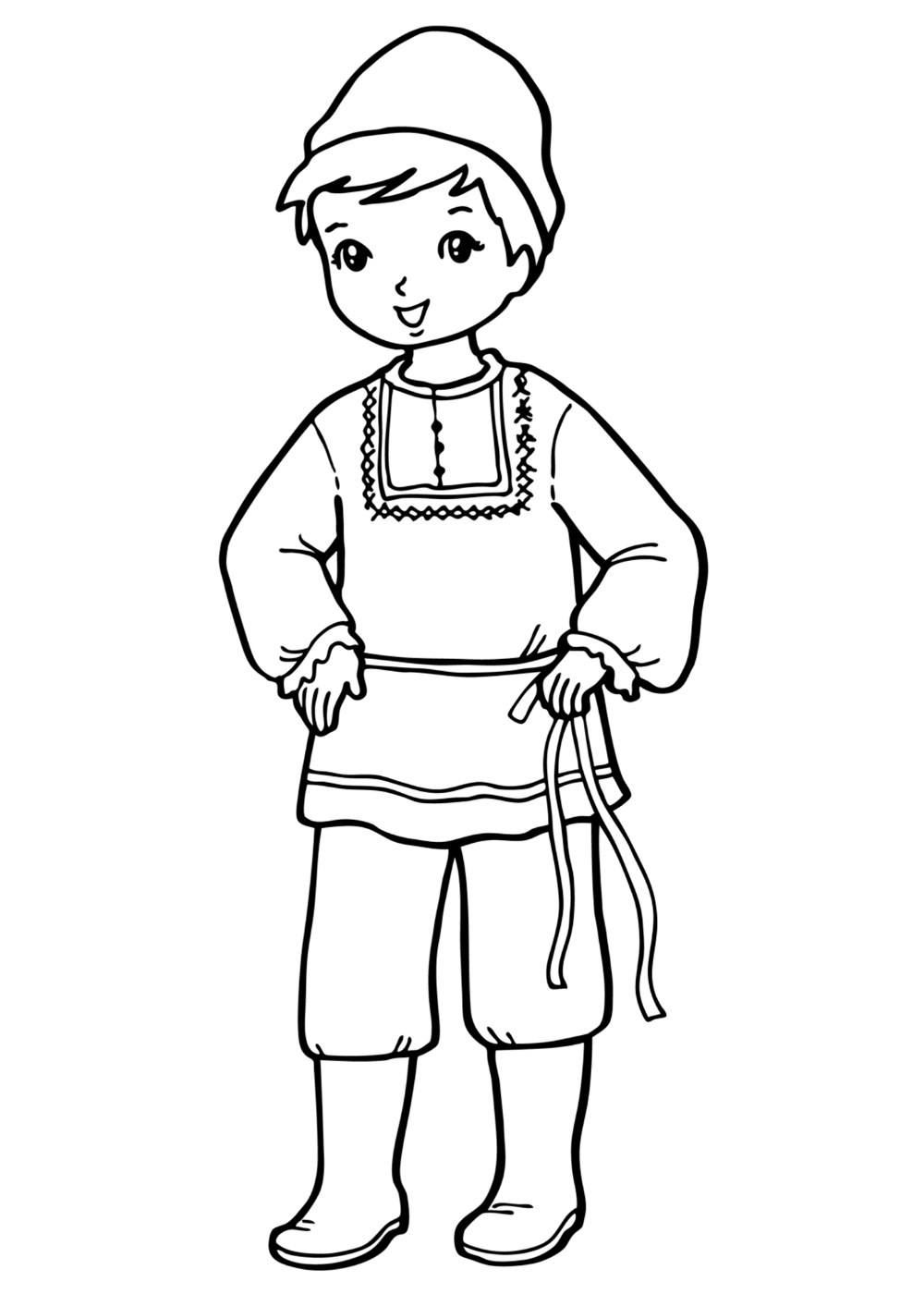Coloring page - The boy in national costume