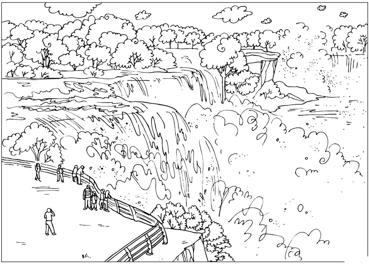 coloring page niagara falls