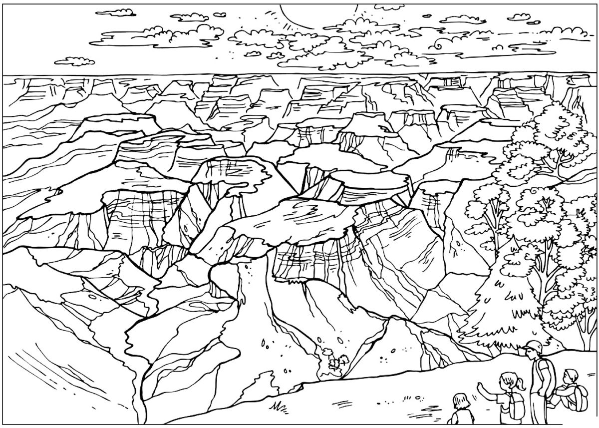Coloring Page Grand Canyon on Mount Rushmore Coloring Page