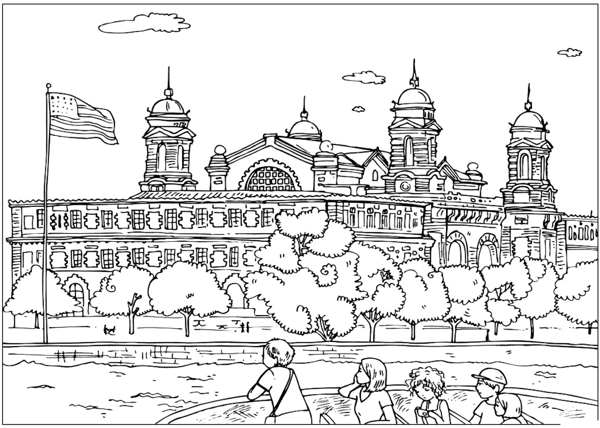 Coloring page - Ellis Island