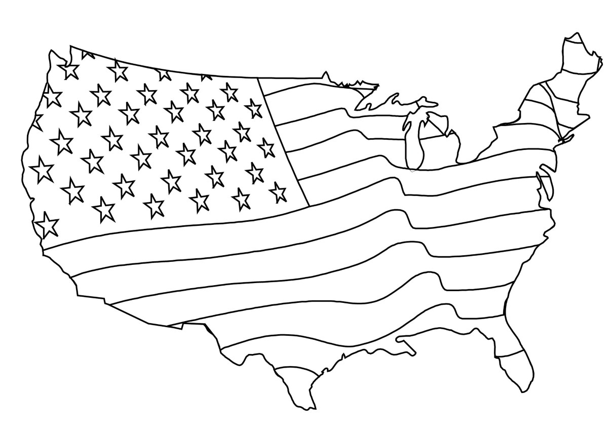 Coloring page - American flag Map