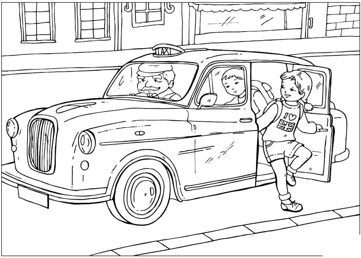 Coloring page british taxi for Taxi coloring page