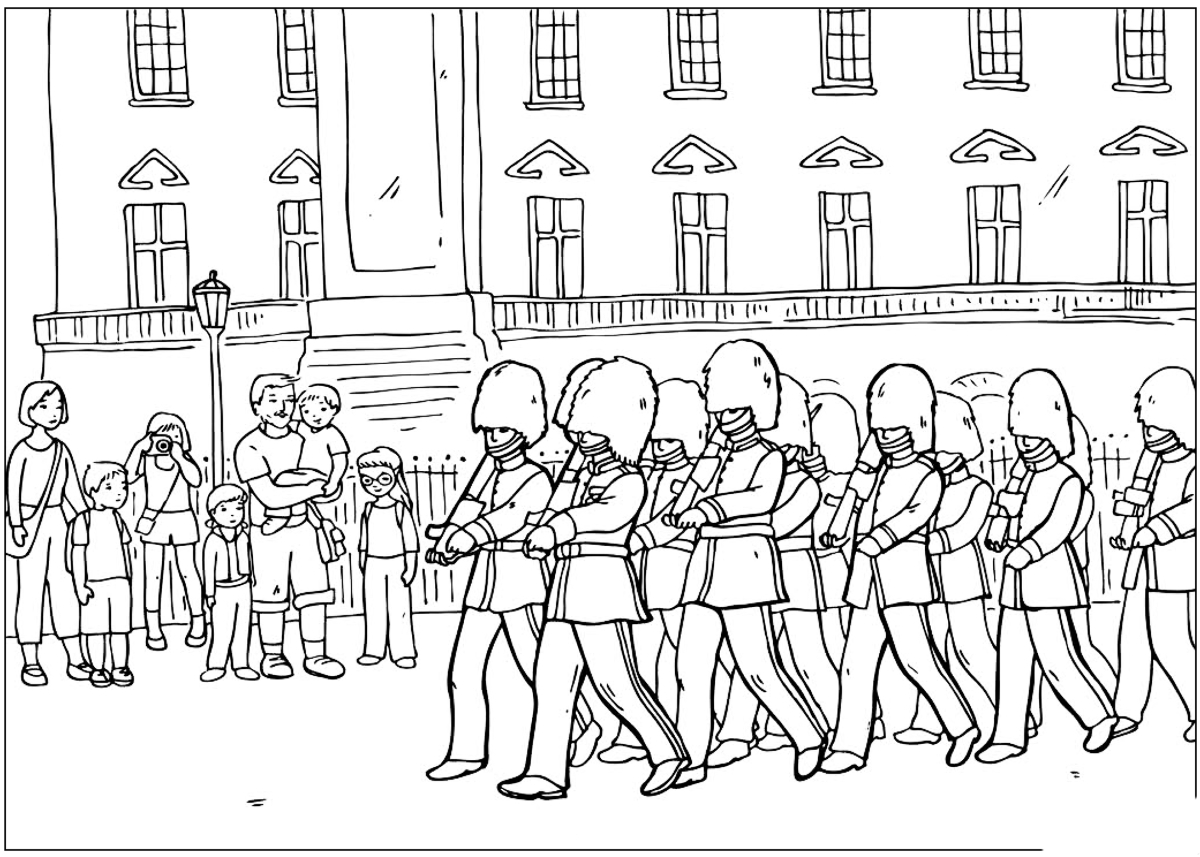Coloring page changing of the guard for Change color page