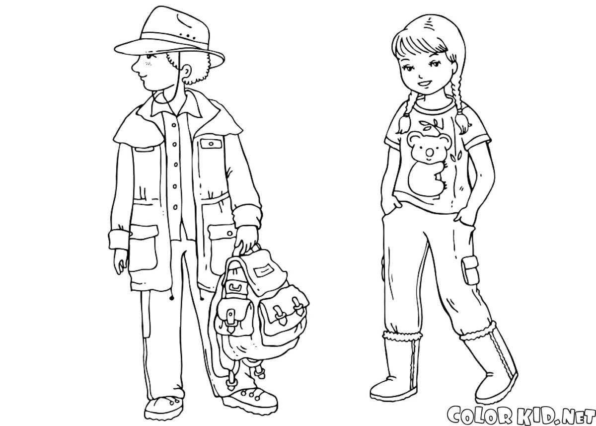 coloring page australian children