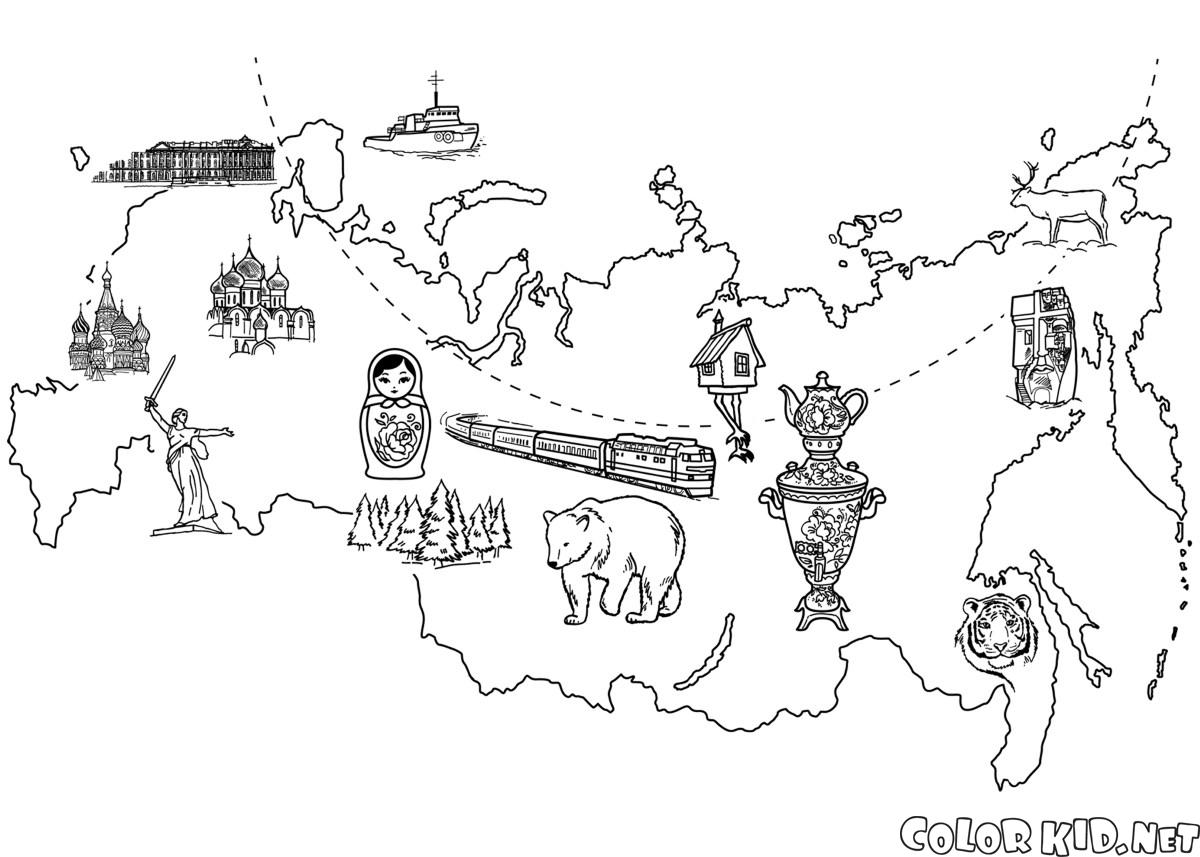 Coloring page Map Of Russia