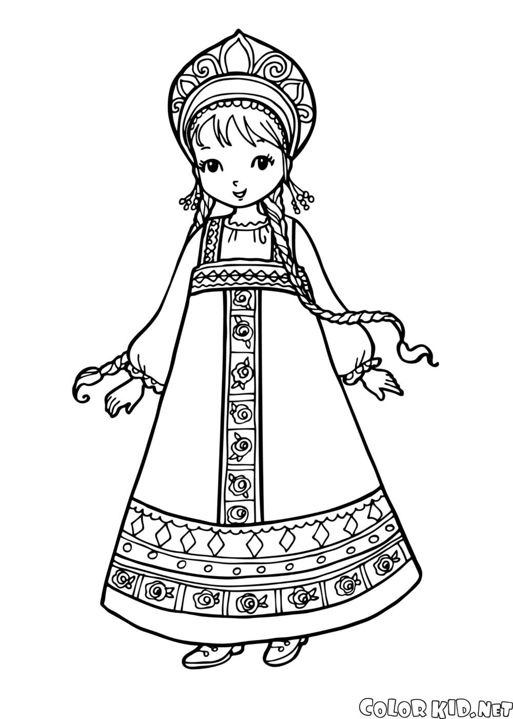 Coloring page girl in national costume for Outfit coloring pages