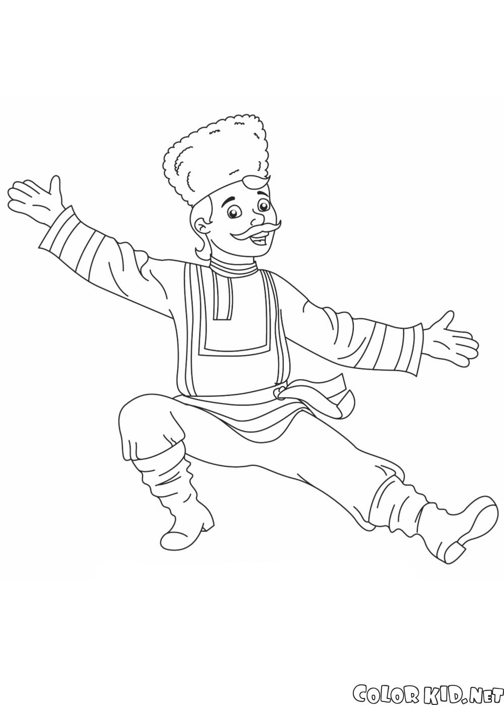 Coloring Page Russian Dancer