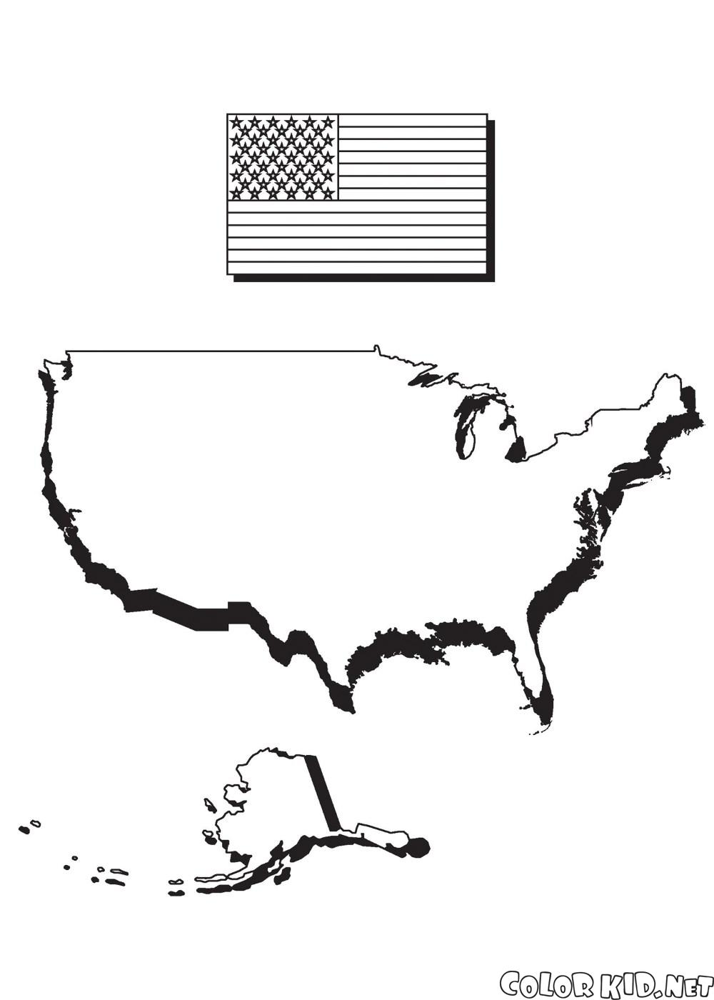 Map of America and flag