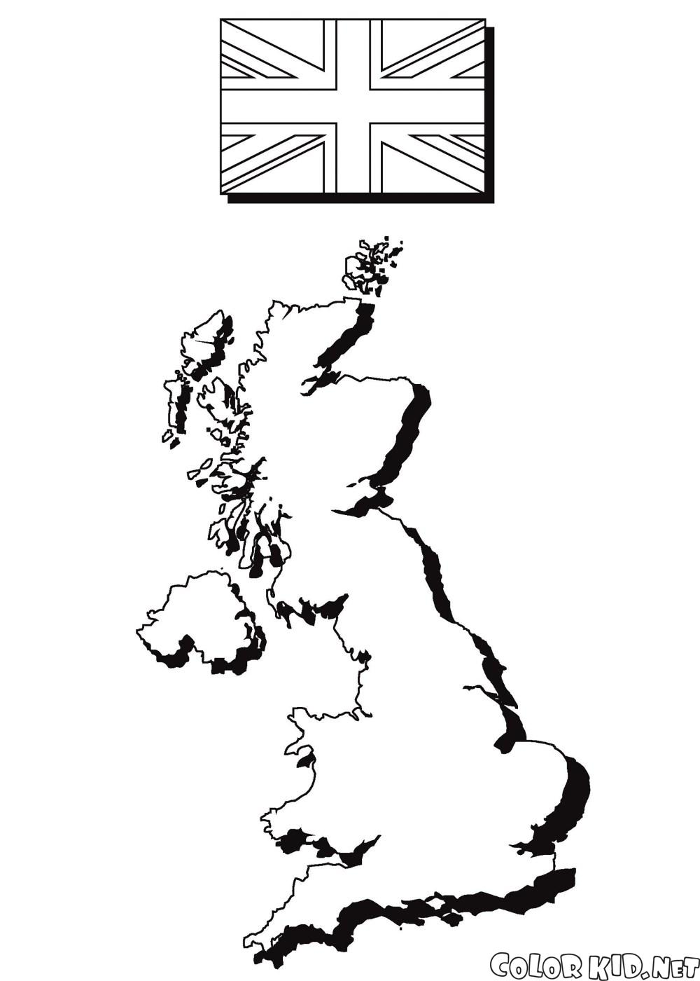 The map and the flag of England