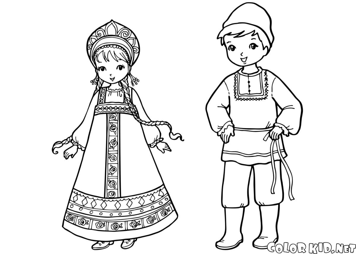 Coloring page children in traditional clothing for Clothing coloring page
