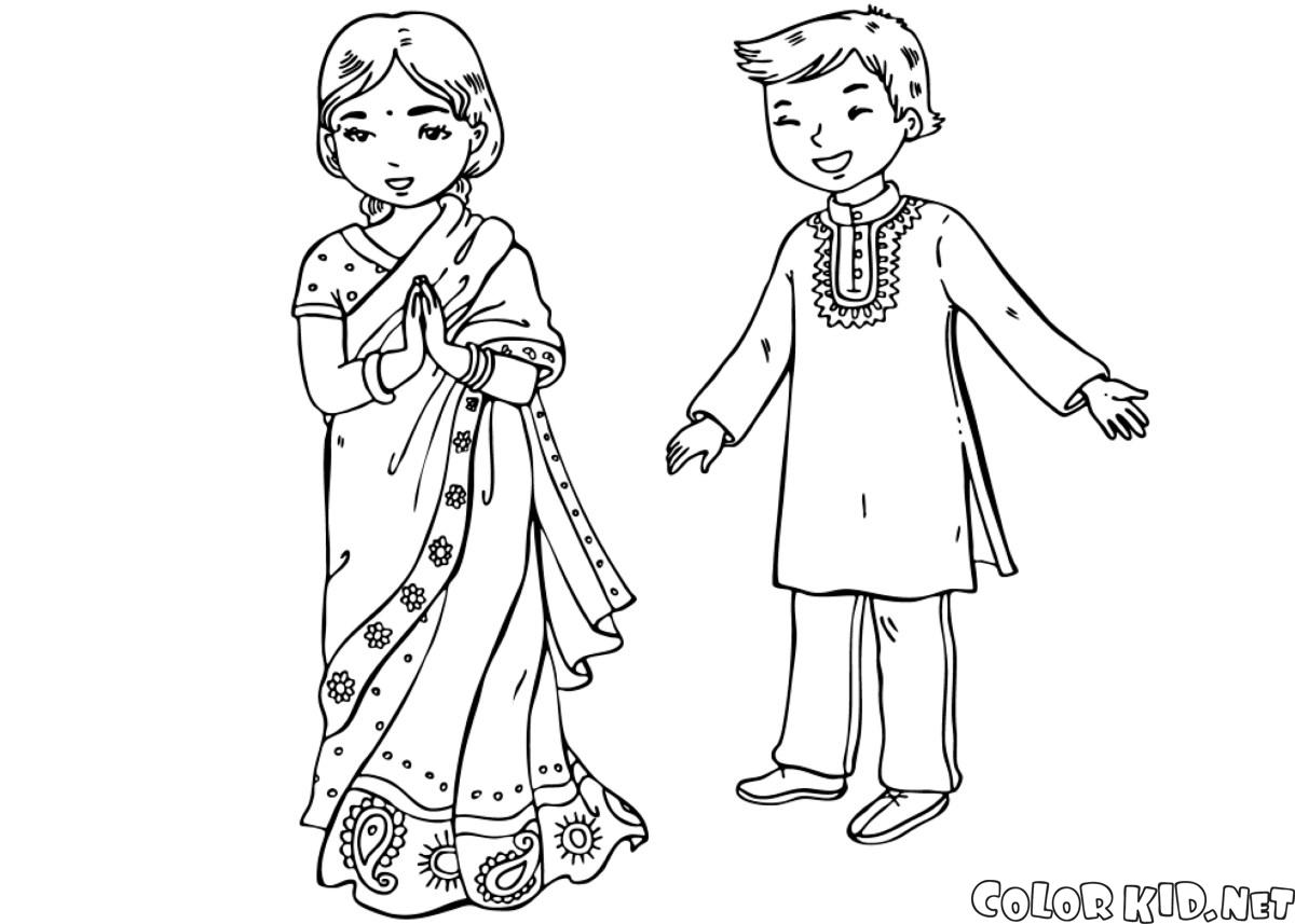 Coloring page - Children in traditional clothing