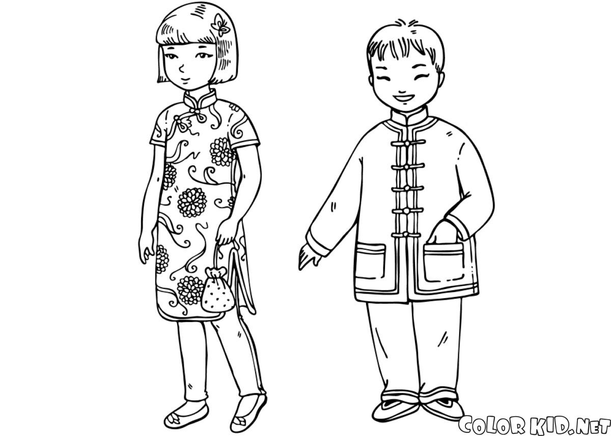 Download Coloring page - Children in traditional clothing