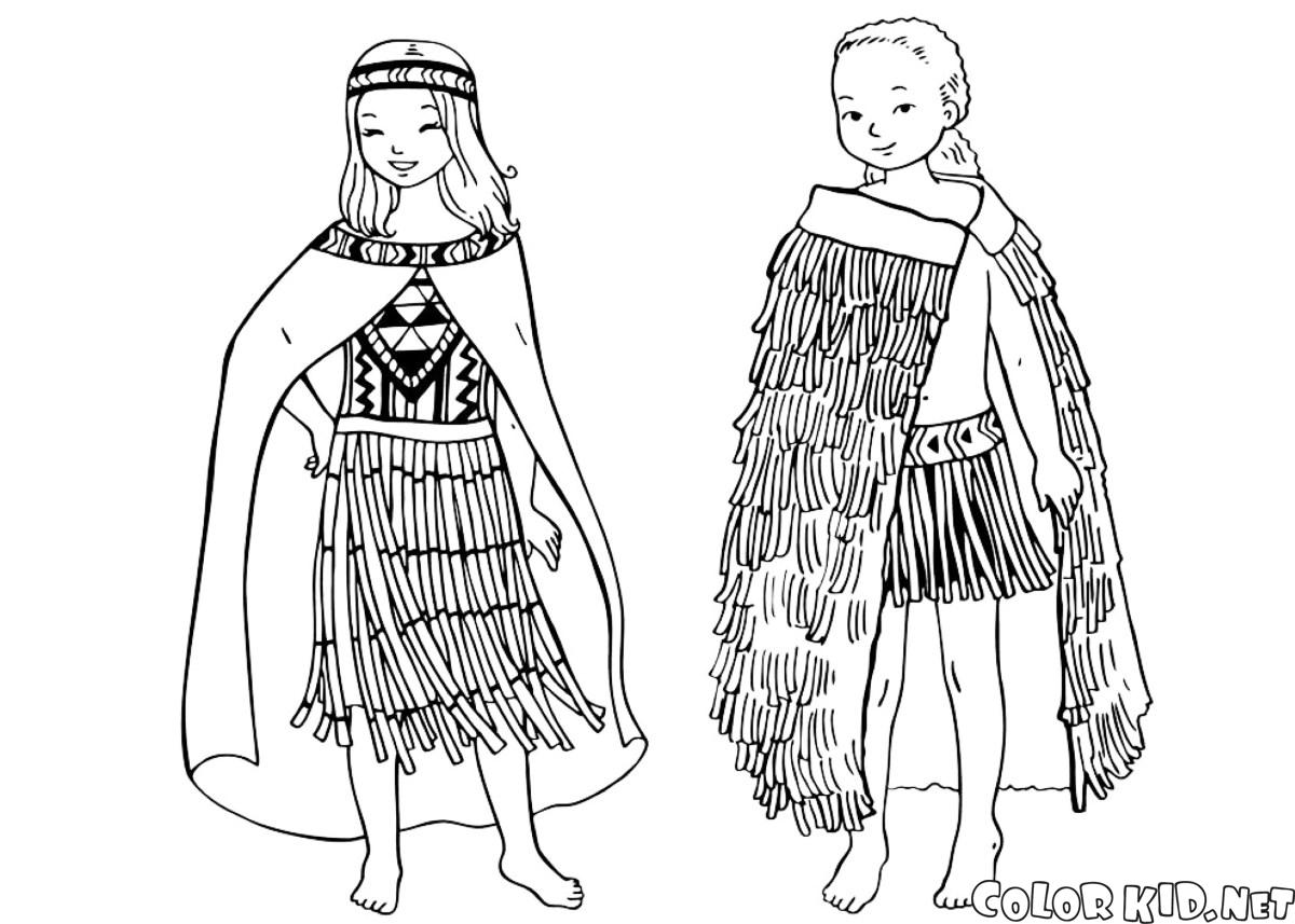 coloring page children in traditional clothing